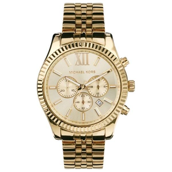 michael kors men s mk8281 gold tone fluted bezel chronograph watch michael kors men s mk8281 gold tone fluted bezel chronograph watch