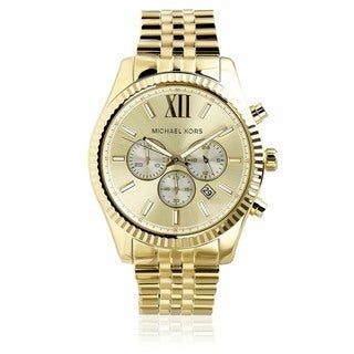 Michael Kors Men's MK8281 Gold-Tone Fluted Bezel Chronograph Watch - Gold