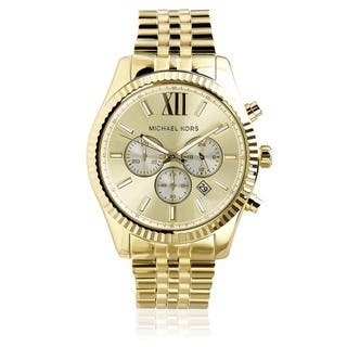 Michael Kors Men's MK8281 Gold-Tone Fluted Bezel Chronograph Watch|https://ak1.ostkcdn.com/images/products/7883598/P15266181.jpg?impolicy=medium