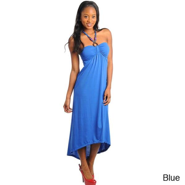 Stanzino Women's Beaded Halter High-low Dress
