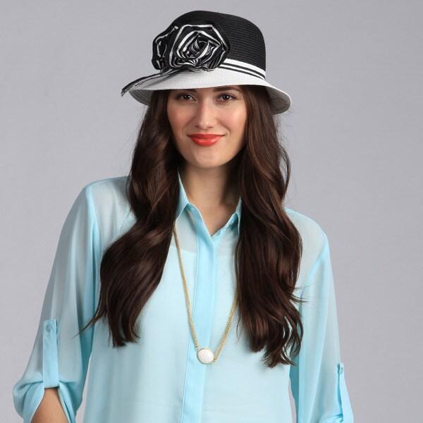 Swan Hat Women's Black/White Flower Ribbon Cloche Hat
