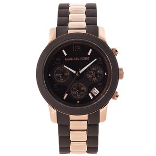Michael Kors Women's 'Silicone Runway' Rose-goldtone Watch