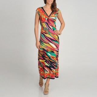 Tiana B. Women's Knot Front Printed Maxi Dress