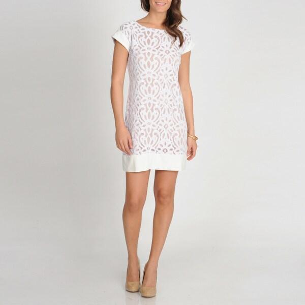 Tiana B. Women's Ivory Embroidered Lace Dress