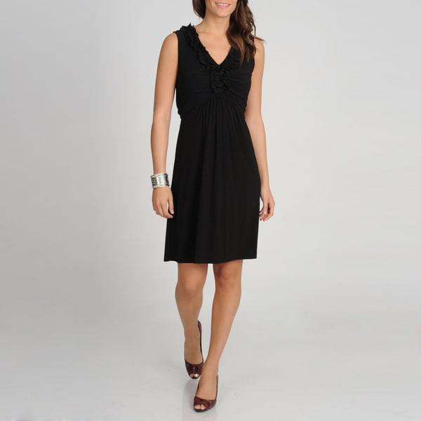 Tiana B. Women's Black Ruffled Neckline Dress