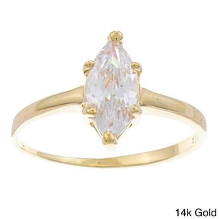 Sterling Essentials Silver Marquise-cut Cubic Zirconia Solitaire Ring