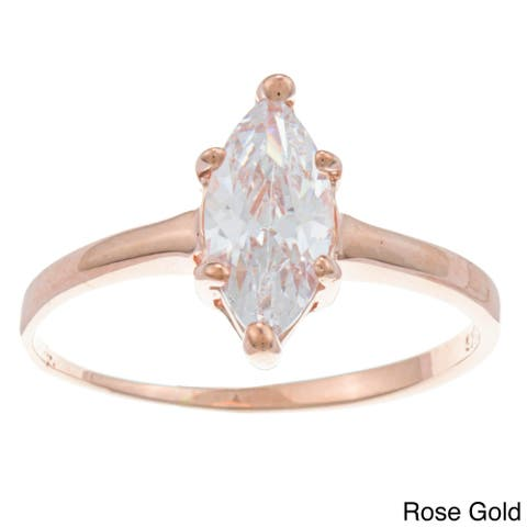 Roberto Martinez Silver Marquise-cut Cubic Zirconia Solitaire Ring