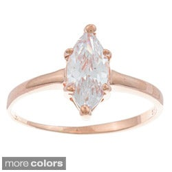Roberto Martinez Silver Marquise-cut Cubic Zirconia Solitaire Ring - White