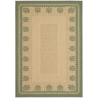 Martha Stewart Palm Border Sand/ Green Indoor/ Outdoor Rug (4' x 5' 7)