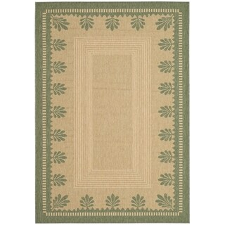 Martha Stewart by Safavieh Palm Border Sand/ Green Indoor/ Outdoor Rug (8' x 11' 2)
