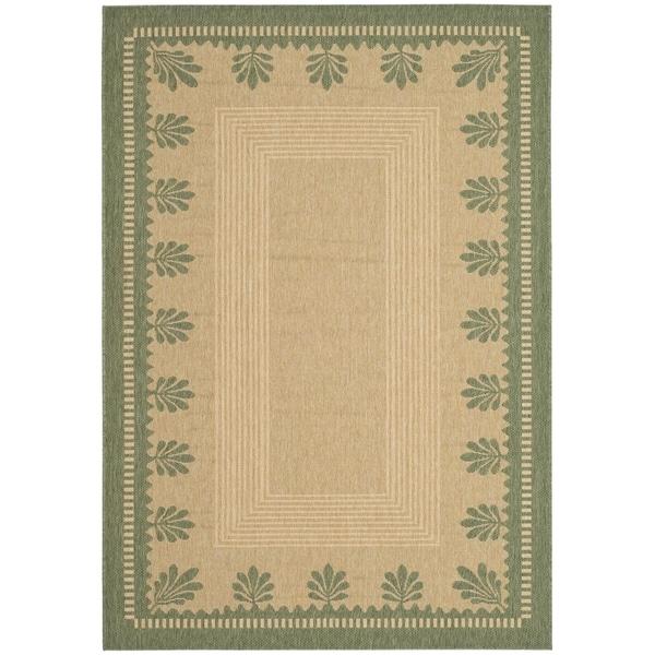 Martha Stewart Palm Border Sand/ Green Indoor/ Outdoor Rug (8' x 11' 2)
