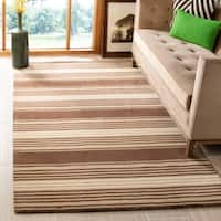 Martha Stewart by Safavieh Harmony Stripe Tobacco Leaf Wool Rug - 8' x 10'
