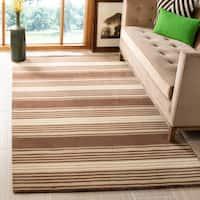 Martha Stewart by Safavieh Harmony Stripe Tobacco Leaf Wool Rug (8' x 10') - 8' x 10'