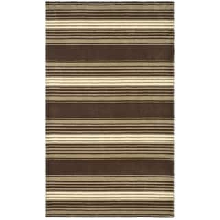 Martha Stewart by Safavieh Harmony Stripe Tobacco Leaf Wool Rug (9' x 12')