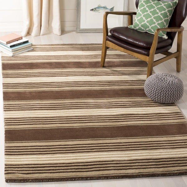 Martha Stewart by Safavieh Harmony Stripe Tobacco Leaf Wool Rug - 9' x 12'
