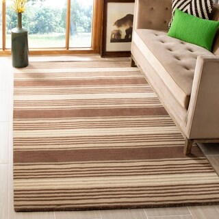 Martha Stewart by Safavieh Harmony Stripe Tobacco Leaf Wool Rug (9' x 12')