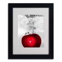 Roderick Stevens 'Red Apple Splash' Framed Matted Giclee Art - Multi