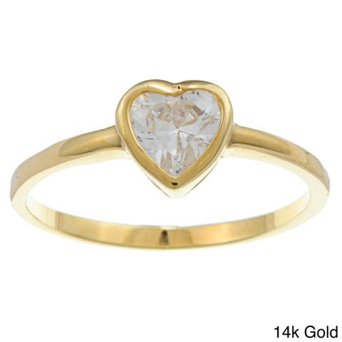 Sterling Essentials Silver Heart-cut Cubic Zirconia Solitaire Ring