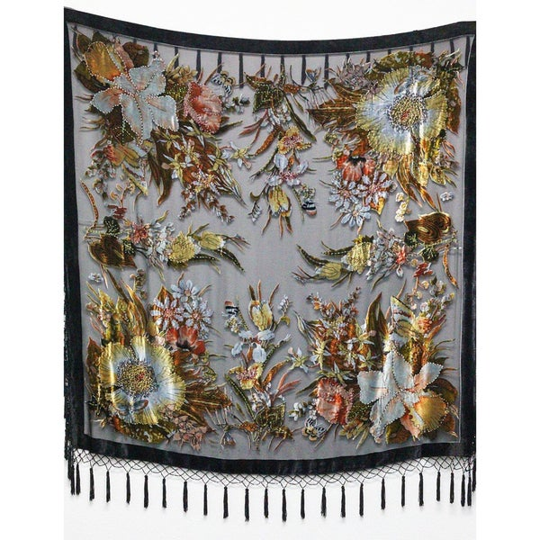 Aris A Velvety Floral Silk Beaded Square Scarf