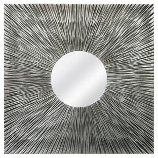 Textured Square Silvertone Mirror