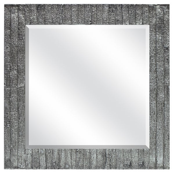 Silver Wood Grain Square Mirror