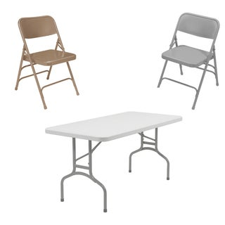 NPS 60-inch Rectangular Table and Folding Chairs Set