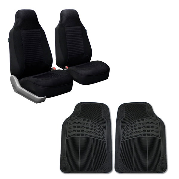 FH Group Black Front Bucket Seat Covers and Front Floor Mats