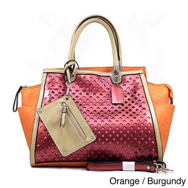 Dasein Women's Metallic Two-tone Perforated Shoulder Bag