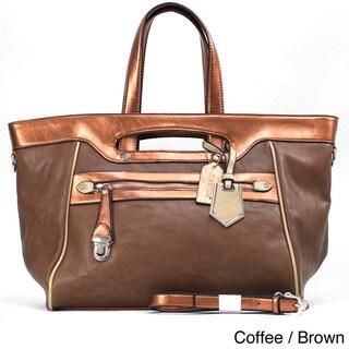 Dasein Women's Two-tone Metallic Contrast Tote Bag