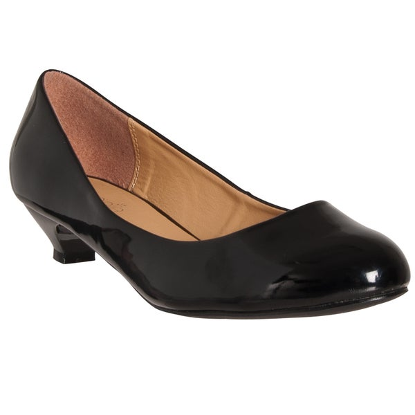 Riverberry Women's Black Patent Kitten Heel Pumps