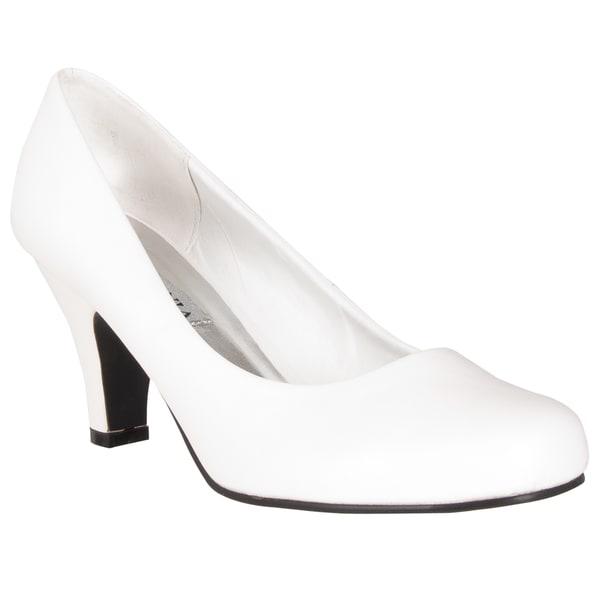 Riverberry Women's White Round Toe Mid-heel Pumps