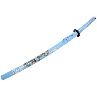 40.5-Inch Sky Blue Carbon Steel Collectible Dragon Katana Sword