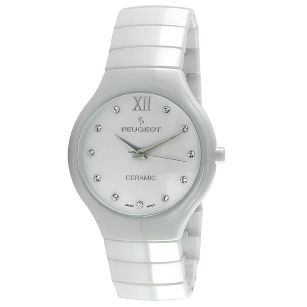 shop peugeot women's swiss quartz white ceramic watch - free