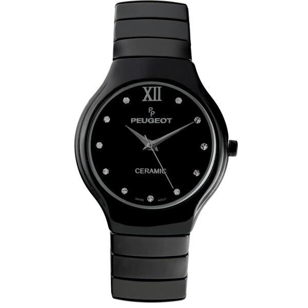 Peugeot Women's Swiss Quartz Black Ceramic Watch