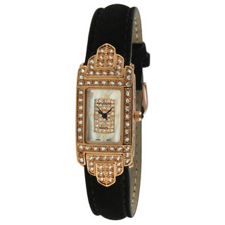 Peugeot Women's Suede Leather Strap Rose Goldtone Crystal-accented Watch