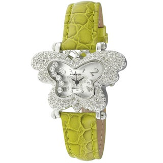 Peugeot Women's 'Couture' Crystal-accented Lime Green Strap Butterfly Watch