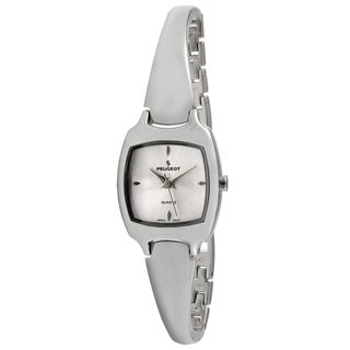 Peugeot Women's Silvertone Slim Half Bangle Silver Dial Watch