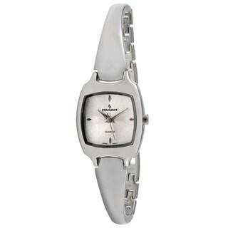 Peugeot Women's Silvertone Slim Half Bangle Silver Dial Watch