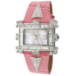Peugeot Women's 'Couture' Crystal-accented Pink Leather Strap Watch