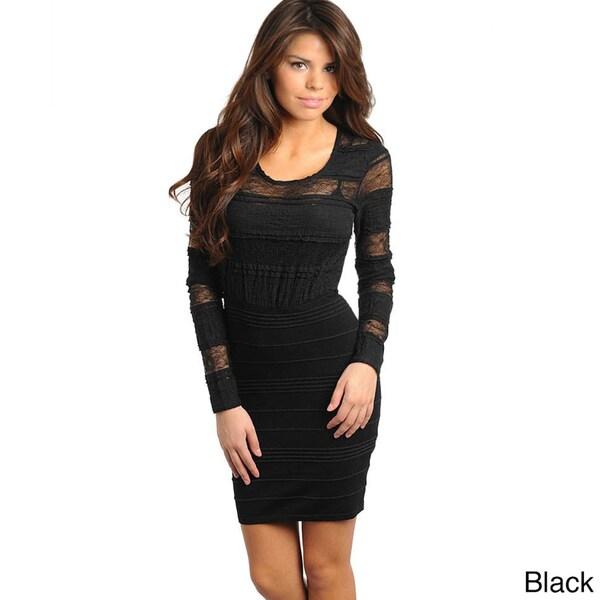 a06c975231b Shop Stanzino Women s Long Sleeve Lace Mini Dress - Free Shipping On ...
