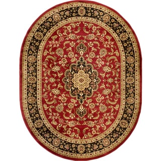 Oriental Medallion Red Oval Area Rug (5'3 x 6'10)