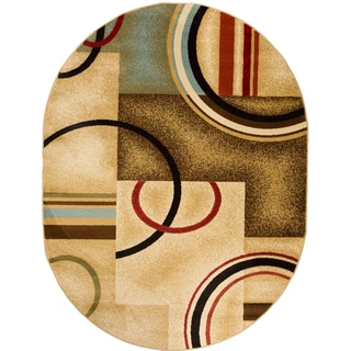 Geometric Arcs and Shapes Beige Oval Area Rug (5'3 x 6'10)