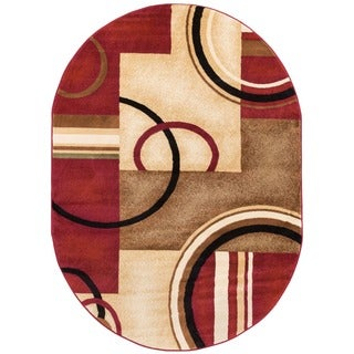 Arcs and Shapes Abstract Modern Circles and Boxes Red Ivory and Beige Oval Area Rug (5'3 x 6'10)