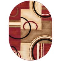 """Well Woven Arcs Shapes Abstract Modern Circles Boxes Red Ivory Beige Oval Area Rug - 5'3"""" x 6'10"""""""
