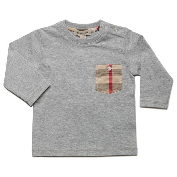 Burberry Boy's 'Melange' Grey Check Pocket Long Sleeve T-shirt