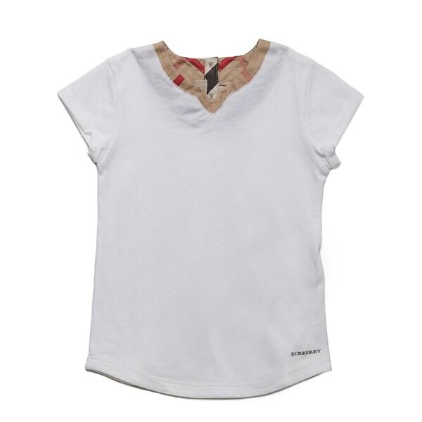 Burberry Girl's White Check Collar T-shirt