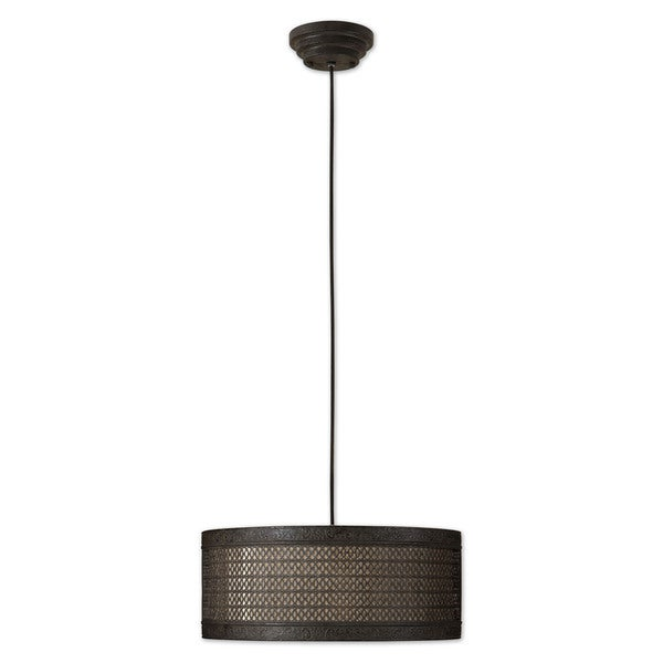 Uttermost New Orleans 3-light Semi-Matte Black/ Rust Drum Pendant
