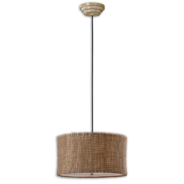 Uttermost Burleson 3-light Natural Twine Drum Pendant