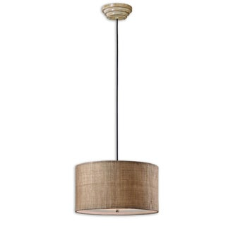 Uttermost Dafina 3-light Burlap Weave Drum Pendant