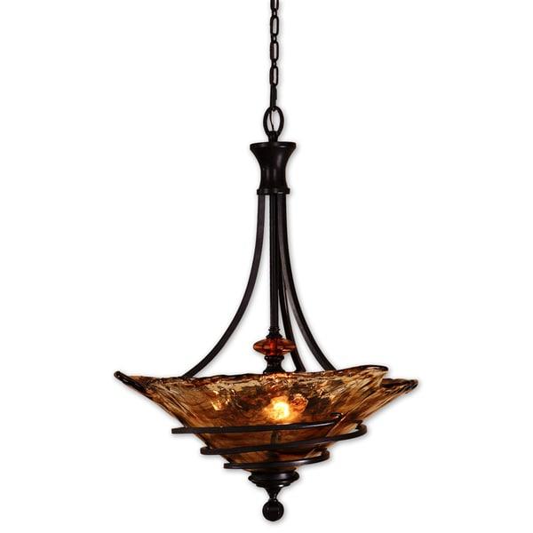 uttermost vitalia 3 light oil rubbed bronze pendant - Uttermost Lights